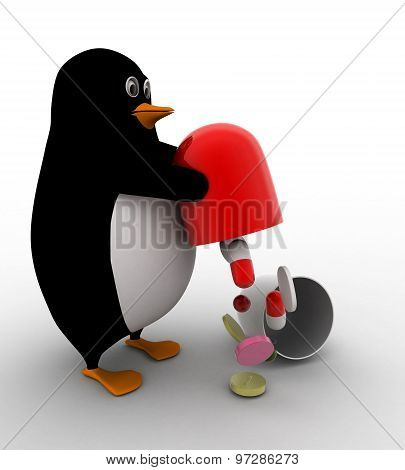 3D Penguin Taking Out Medicine From Big Capsule Concept