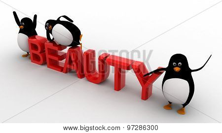 3D Three Penguins With Beauty Text Concept
