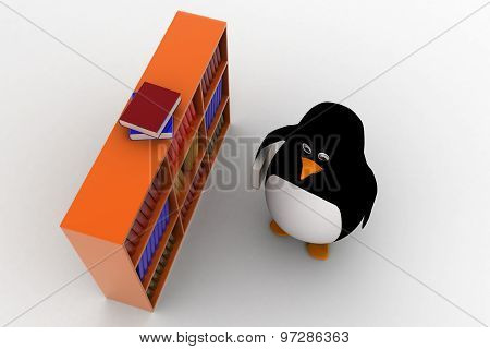 3D Penguin With Book And Books In Many Books Shelf Concept