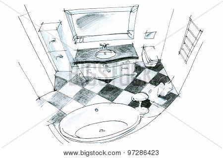 Graphic Sketch Of A Bathroom