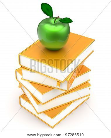 Books Stack Textbook Golden Apple Green Covers Yellow