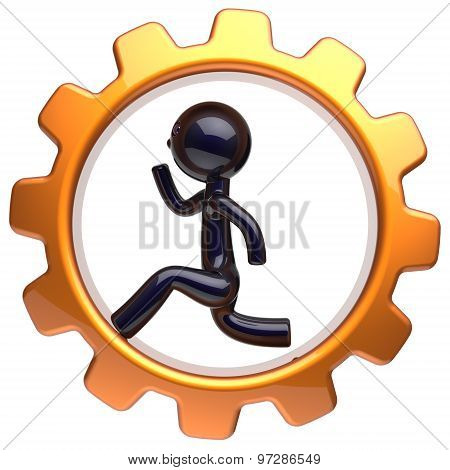 Man Character Inside Gearwheel Running Businessman Icon