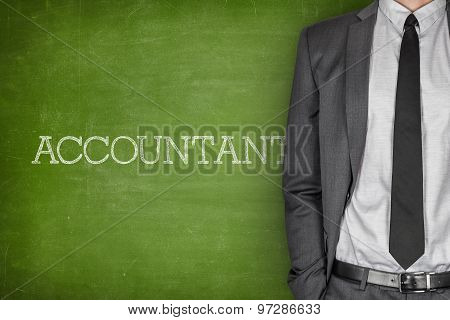 Accountant on blackboard