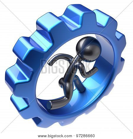 Running Man Character Human Inside Gearwheel Stylized Icon