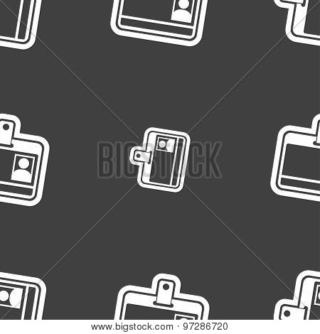 Id Card Icon Sign. Seamless Pattern On A Gray Background. Vector