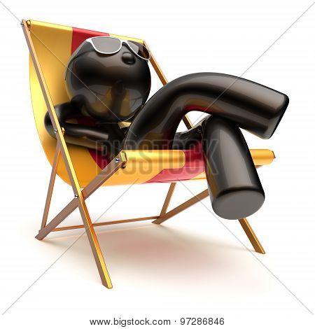 Man Carefree Relax Chilling Beach Deck Chair Summer Outdoor