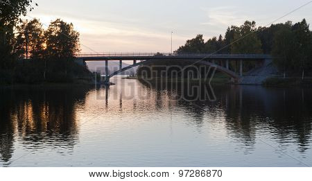 View of a modern bridge cross a river.
