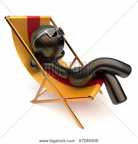 Man Chilling Stylized Relaxing Carefree Beach Deck Chair Icon