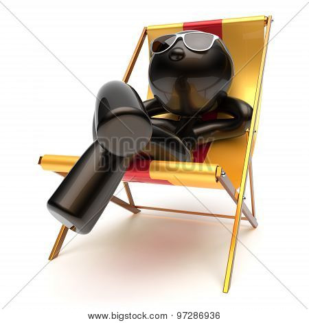 Chilling Man Relaxing Carefree Sunburn Beach Deck Chair Icon