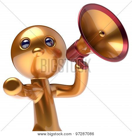 Man Promotion Speaking Megaphone News Character Stylized