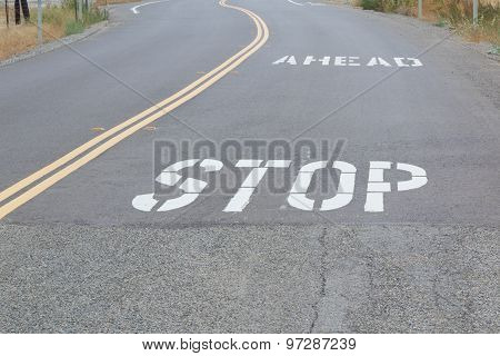 Stop Ahead On Road