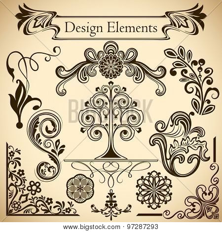 Floral vintage vector design elements isolated on beige background. Set 31.