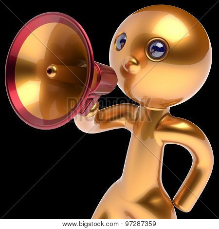 Man Megaphone Character Making Announcement Golden