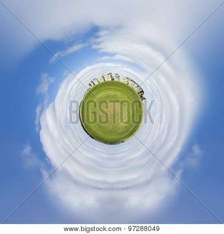 An image of a tiny planet Stonehenge