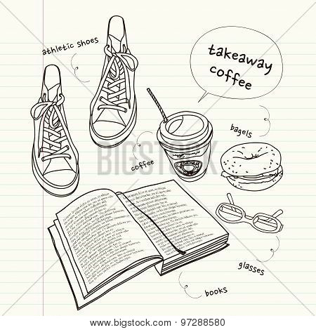 Still Life Of Book And Shoes