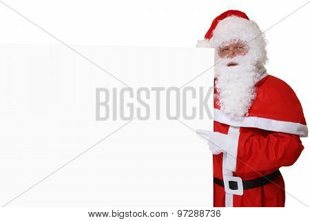 Santa Claus With Hat Pointing On Christmas At Empty Banner Copyspace
