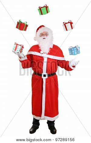 Santa Claus Portrait Throwing Christmas Gifts Isolated