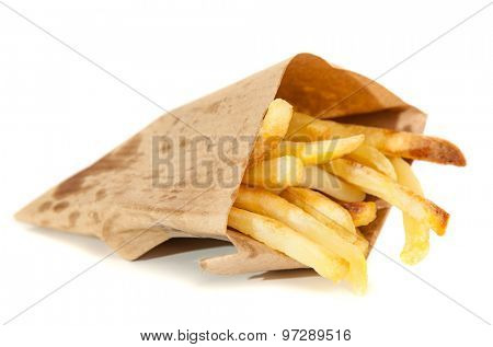 Delicious french fries on white background