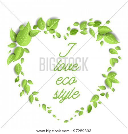 Green leaves frame in the shape of a heart. Background for advertising, leaflet, cards, invitation and so on.