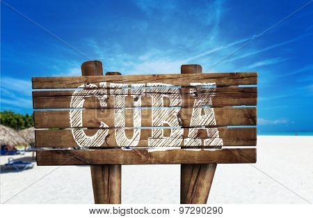 Cuba wooden sign on the beach