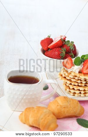 Tea And Ripe Strawberries