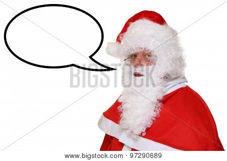 Santa Claus Christmas Speaking With Speech Bubble And Copyspace
