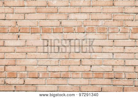 Weathered Old Red Brick Wall