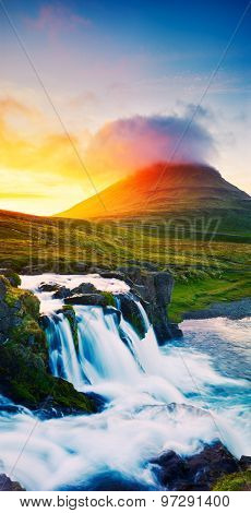 Sunset Waterfall. Amazing Nature Landscape.
