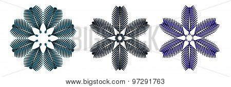 A Set Of Unusual Snowflakes On A White Background.vector