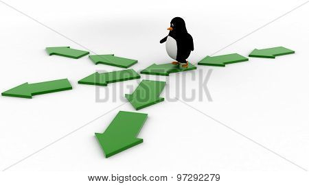 3D Penguin On Three Different Path Arrow Concept
