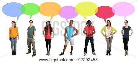 Multi Ethnic International Group Of Young People Talking With Speech Bubbles And Copyspace
