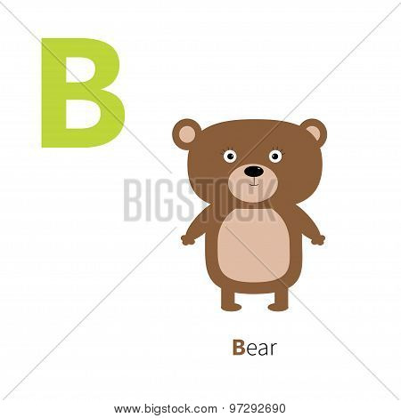 Letter B Bear Zoo Alphabet. English Abc Letters With Animals Education Cards For Kids Isolated White