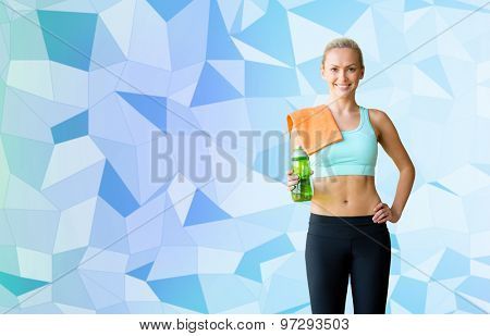 fitness, sport, training, drink and lifestyle concept - woman with bottle of water and towel over blue graphic low poly background