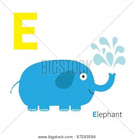 Letter E Elephant Zoo Alphabet. English Abc With Animals Education Cards For Kids Isolated White Bac