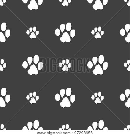 Trace Dogs Icon Sign. Seamless Pattern On A Gray Background. Vector