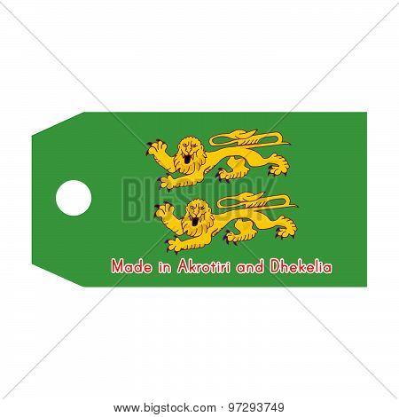 Akrotiri And Dhekelia Flag On Price Tag With Word Made In Akrotiri And Dhekelia Isolated On White Ba