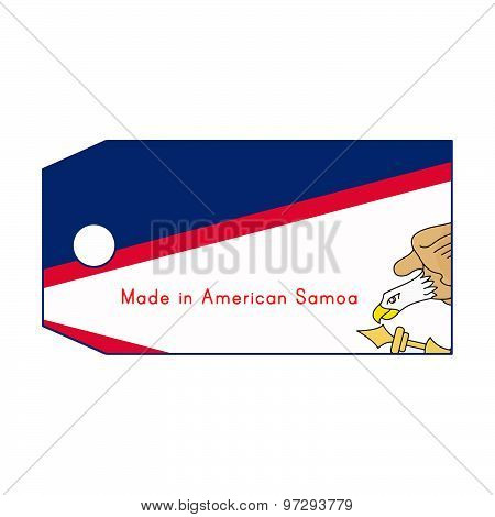 American Samoa Flag On Price Tag With Word Made In American Samoa Isolated On White Background
