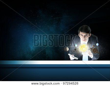 Man exploring space