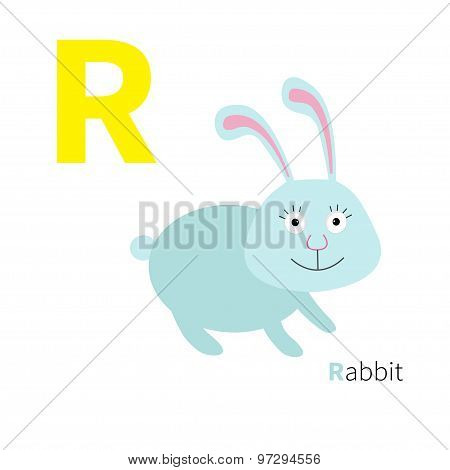 Letter R Rabbit Zoo Alphabet. English Abc With Animals Education Cards For Kids Isolated White Backg