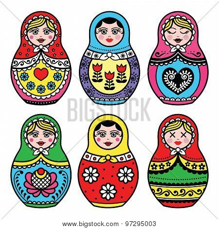 Matryoshka, Russian doll colorful icons set