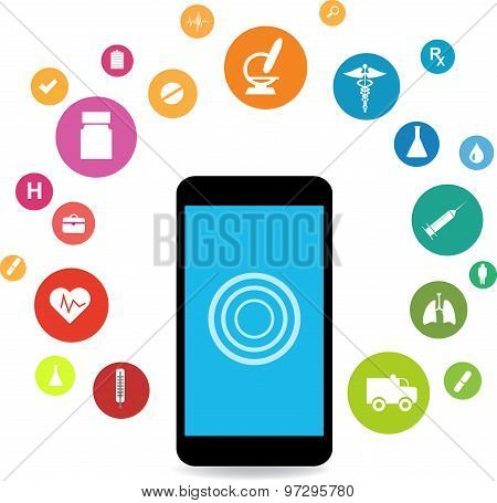 Smart Phones And Health Icons