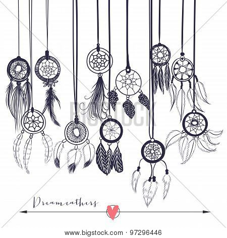 Beautiful vector illustration with dream catchers. Ethnic, tribal elements