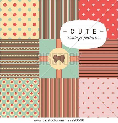 Cute vintage seamless patterns set