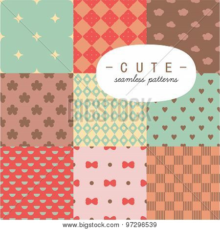 Cute vintage seamless pattern set