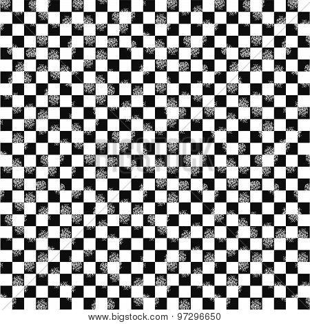 Grunge checkered seamless pattern