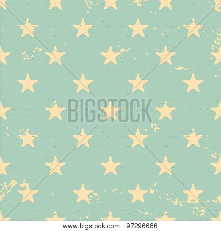 Vintage style stars seamless pattern