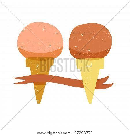 Vintage style ice cream illustration
