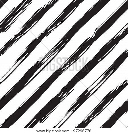 Vector seamless pattern with black brush diagonal strokes. Monochrome hand drawn texture.