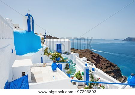 White-blue Architecture On Santorini Island, Greece.