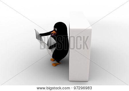 3D Penguin Read News Paper Leaning On Wall Concept